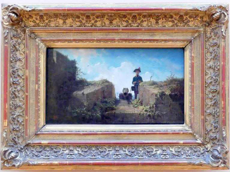 Carl Spitzweg: Der strickende Wachposten, Um 1855