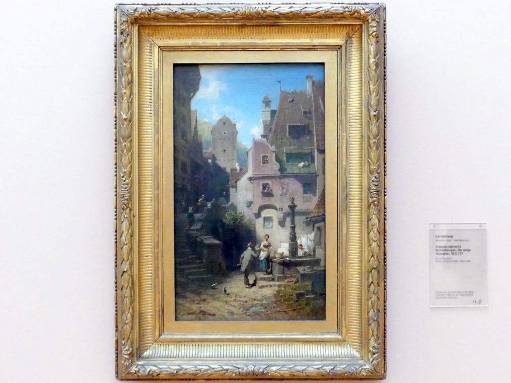 Carl Spitzweg: Gratulant überreicht Blumenbouquet / Der ewige Hochzeiter, Um 1870 - 1872