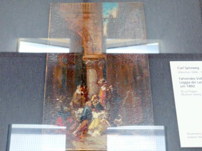 Carl Spitzweg: Fahrendes Volk: Schauspieler an der Loggia dei Lanzi in Florenz, Um 1860