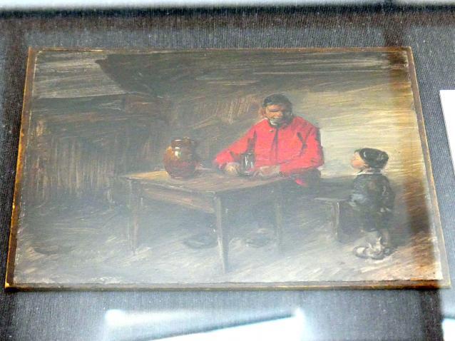 Wilhelm Busch: Stube mit Bauern in roter Jacke, Um 1890 - 1895