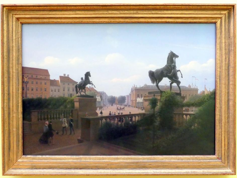 Johann Wilhelm Brücke: Blick vom Schloss auf die Linden, Um 1850
