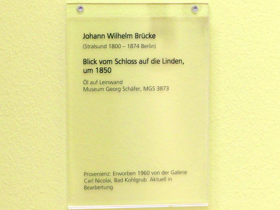 Johann Wilhelm Brücke: Blick vom Schloss auf die Linden, um 1850, Bild 2/2