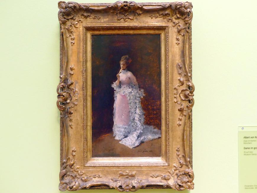 Albert von Keller: Dame im großen Kleid, 1874