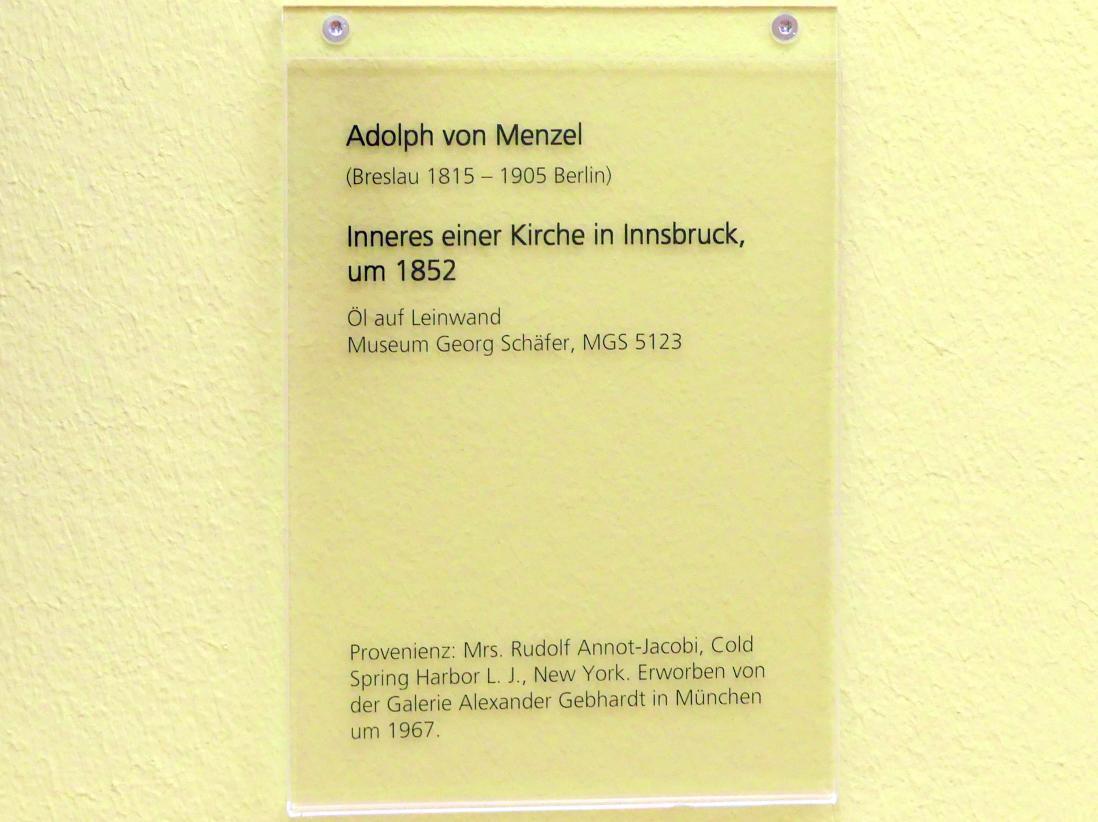 Adolph von Menzel: Inneres einer Kirche in Innsbruck, um 1852, Bild 2/2