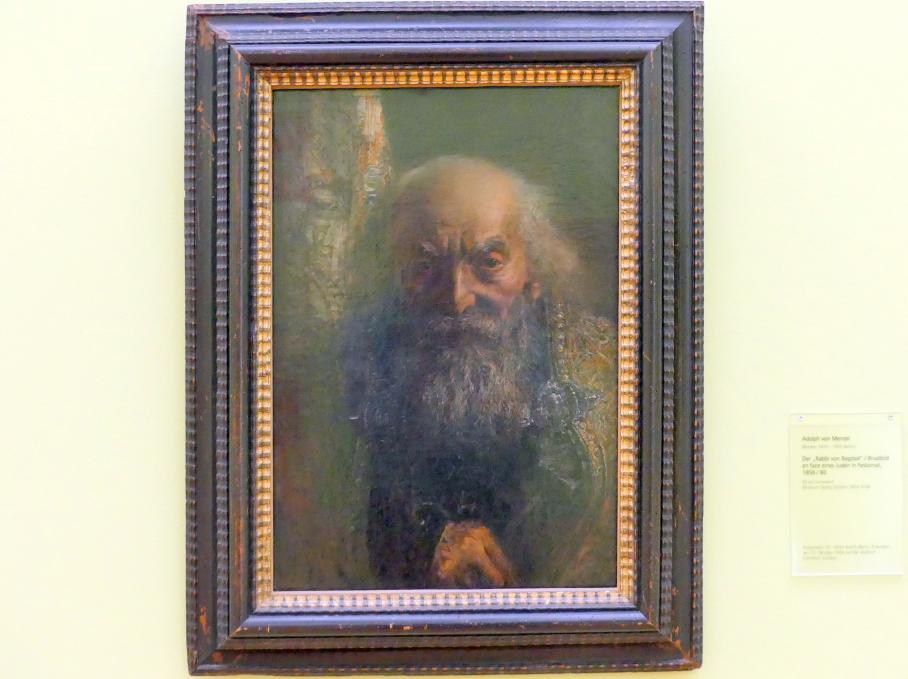 """Adolph von Menzel: Der """"Rabbi von Bagdad"""" / Brustbild en face eines Juden in Festornat, um 1856 - 1880"""
