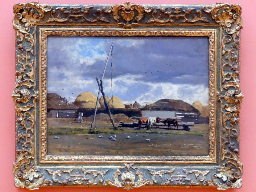 August Xaver Karl Ritter von Pettenkofen: Ungarisches Dorf mit Ziehbrunnen, 1857