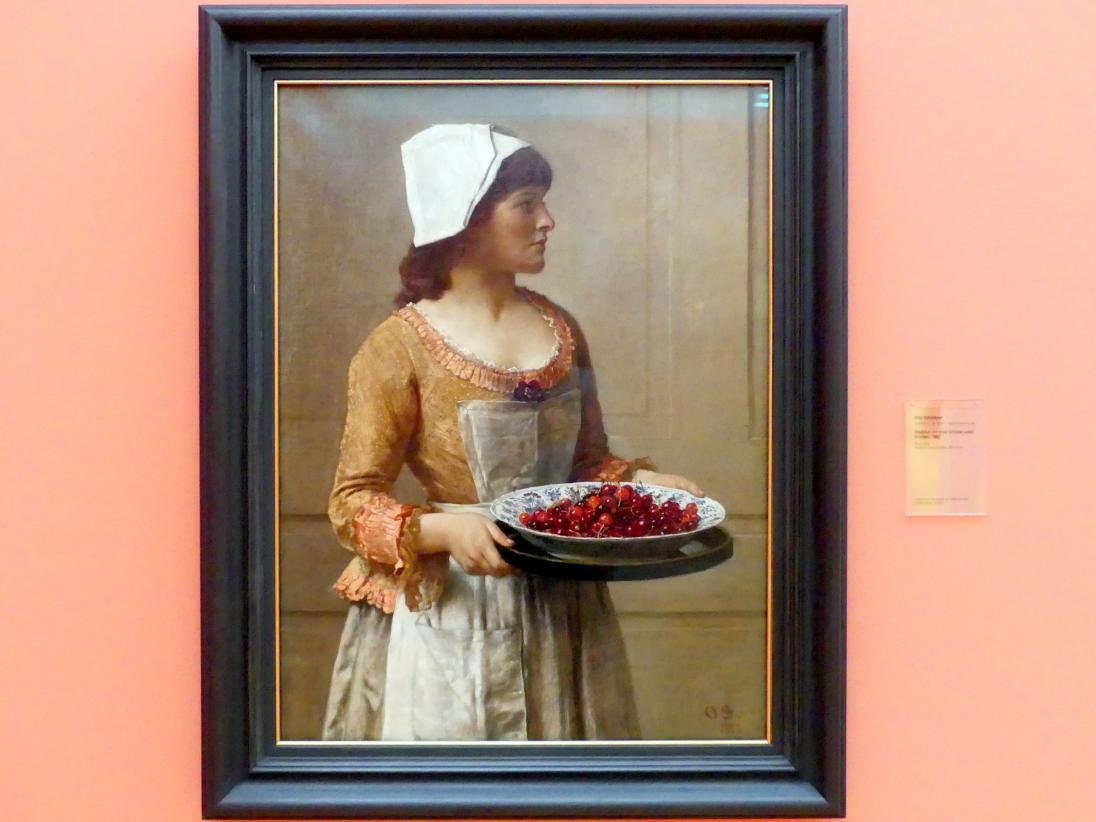 Otto Scholderer: Mädchen mit einer Schüssel voller Kirschen, 1882