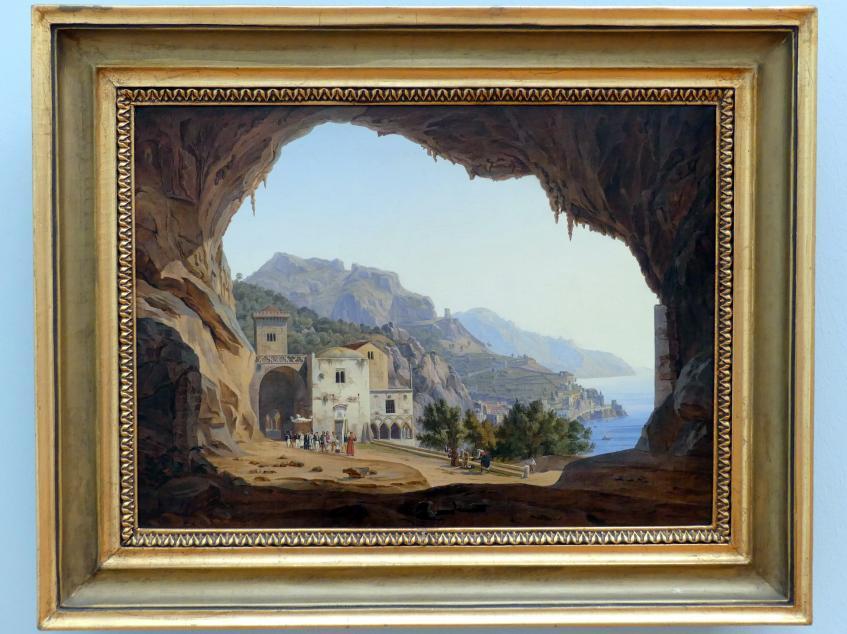 Carl Wilhelm Götzloff: Blick aus einer Felsengrotte auf die Küste von Amalfi, um 1842