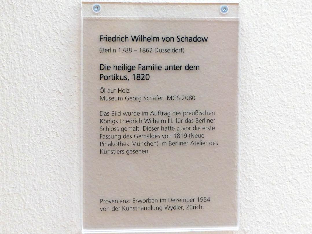 Friedrich Wilhelm von Schadow: Die heilige Familie unter dem Portikus, 1820