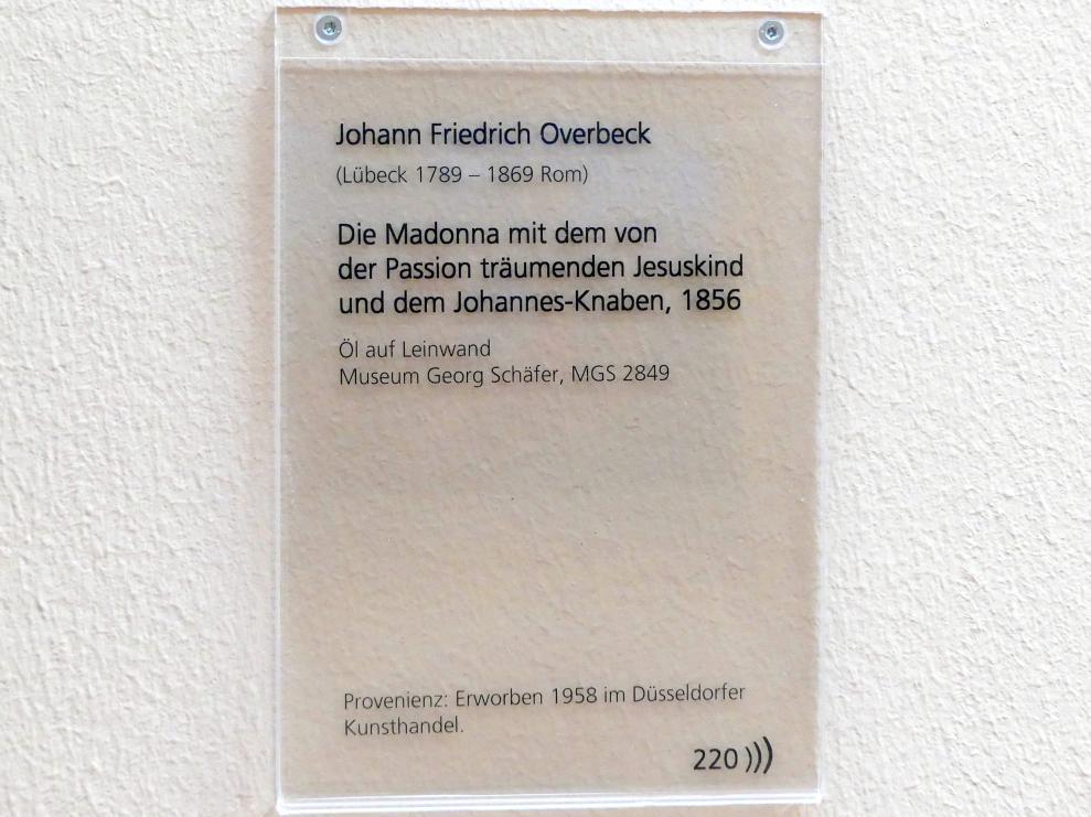Friedrich Overbeck: Die Madonna mit dem von der Passion träumenden Jesuskind und dem Johannes-Knaben, 1856, Bild 2/2