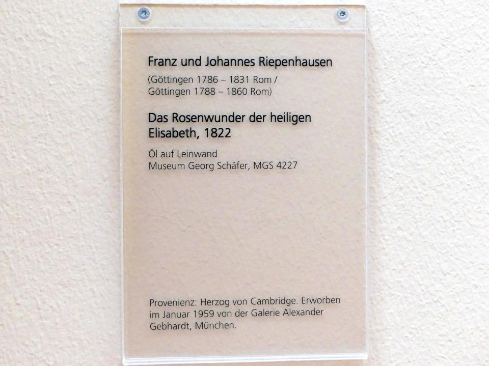 Franz Riepenhausen: Das Rosenwunder der heiligen Elisabeth, 1822, Bild 2/2