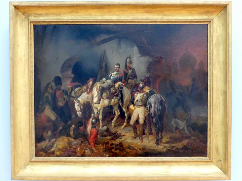 Franz Adam: Während des Brandes von Moskau zechende französische Kürassiere, 1847