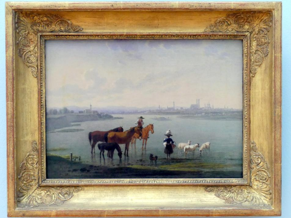 Wilhelm von Kobell: Pferdebursche mit Flöte und Pferden im Uferwasser der Isar, 1815