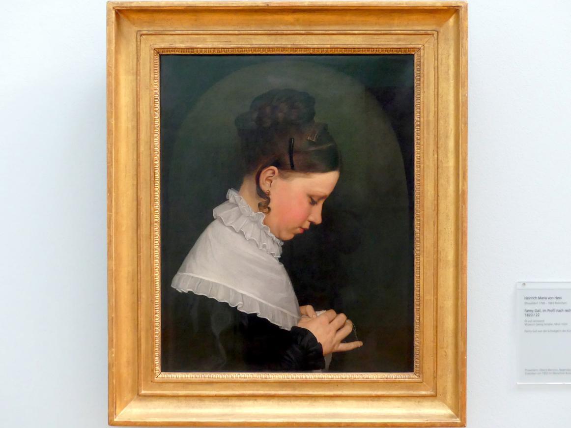 Heinrich Maria von Hess: Fanny Gail, im Profil nach rechts, Um 1820 - 1822
