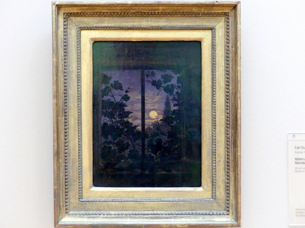 Carl Gustav Carus: Rebenumranktes Fenster bei Mondschein, 1835