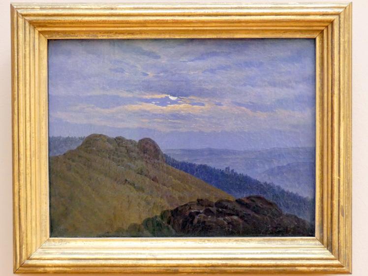 Carl Gustav Carus: Hügellandschaft im Mondschein: Riesengebirgslandschaft, um 1833