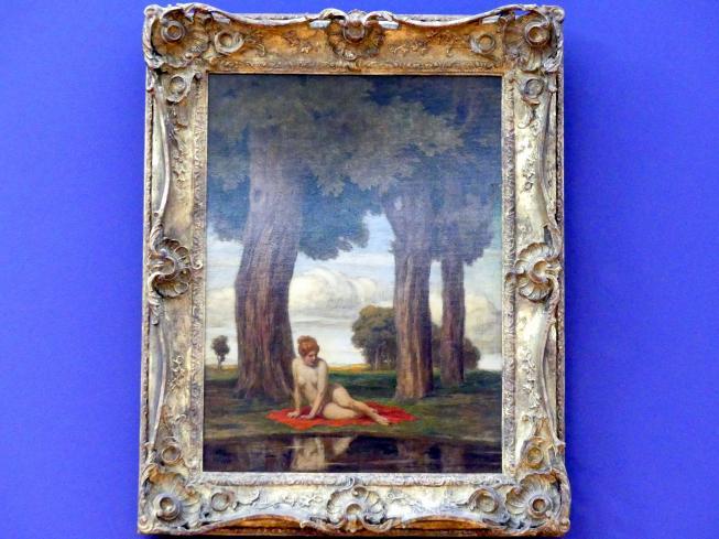 Ludwig von Zumbusch: Badende Frau am See unter Bäumen, um 1900