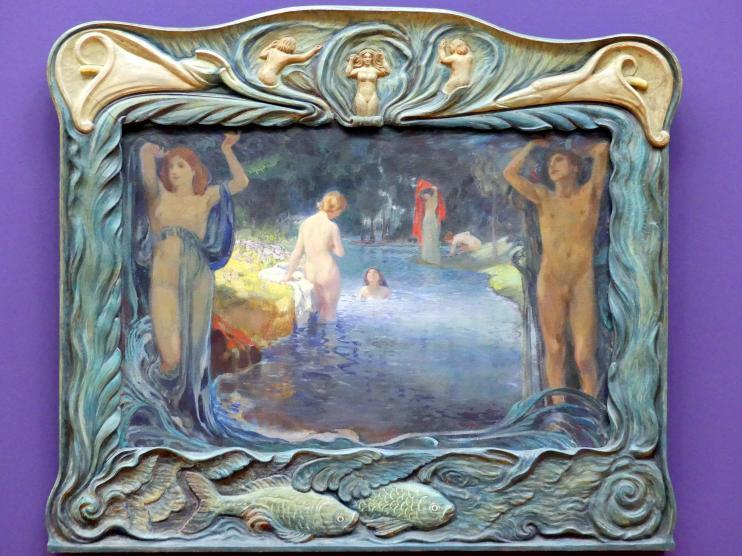 Ludwig von Hofmann: Idyllische Landschaft mit Badenden, um 1900
