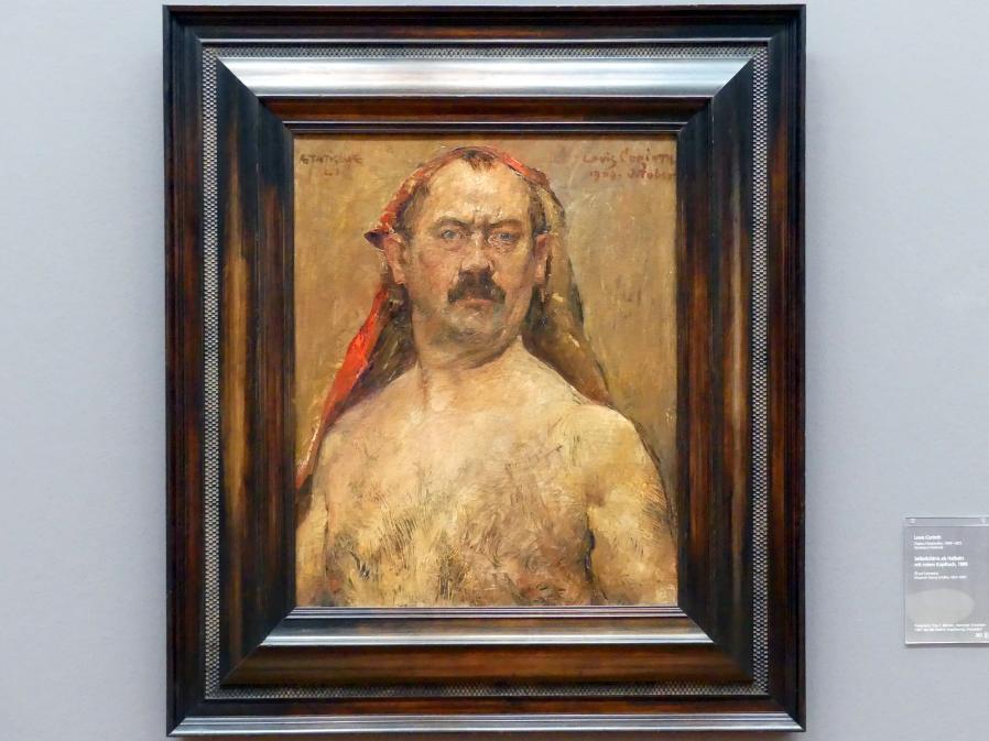 Lovis Corinth: Selbstbildnis als Halbakt mit rotem Kopftuch, 1909