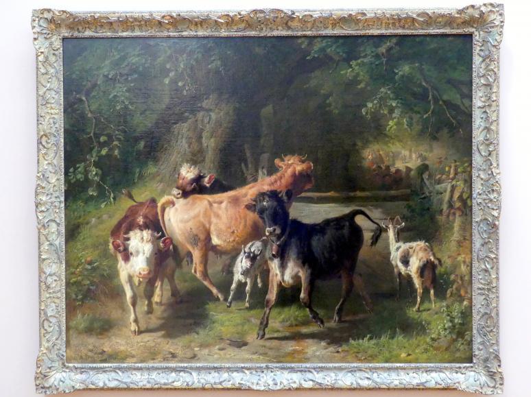 Anton Braith: Jungvieh und Ziegen vor einem Hochzeitszug, 1865, Bild 1/2
