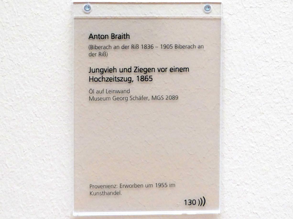 Anton Braith: Jungvieh und Ziegen vor einem Hochzeitszug, 1865, Bild 2/2