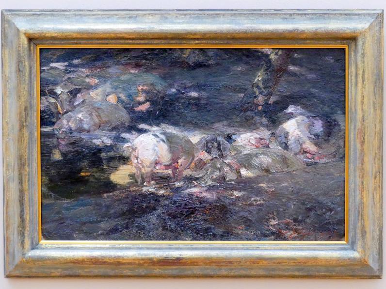 Heinrich von Zügel: Schweineherde im Walde am Wasser, 1904