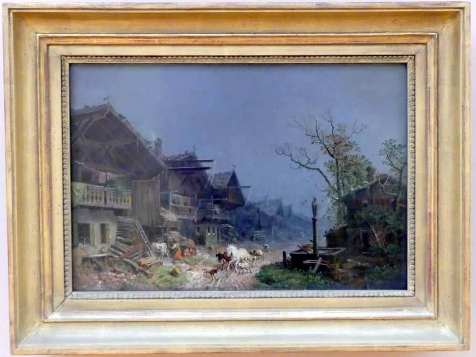 Heinrich Bürkel: Regenguß im Dorf, Um 1850 - 1852
