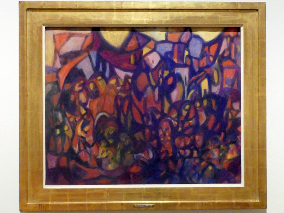 Adolf Hölzel: Farbkomposition V - purpurviolett (Wallfahrt mit großem Stadtbild), um 1925 - 1930