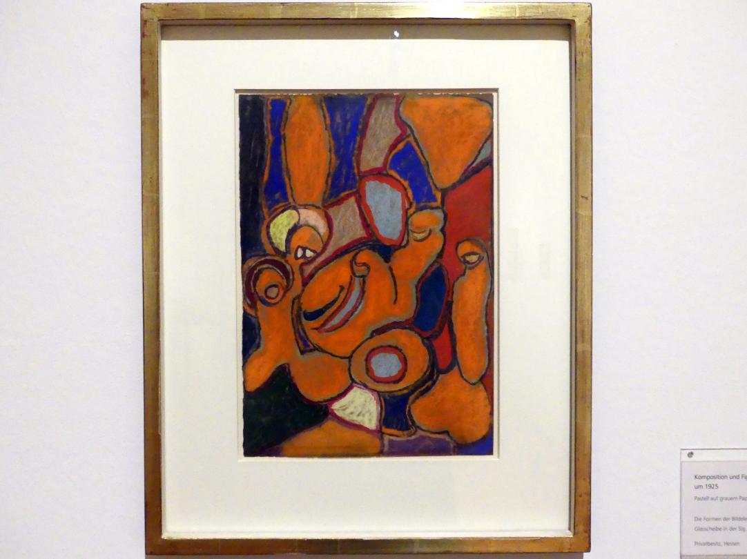 Adolf Hölzel: Komposition und Figurengruppe in Orange, Um 1925