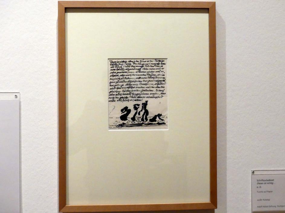 "Adolf Hölzel: Schriftsockelblatt ""Dieses ist richtig..."", Undatiert"
