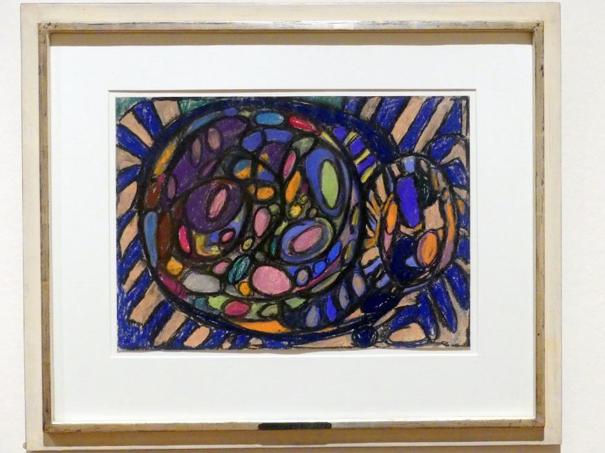 Adolf Hölzel: Farbkomposition mit Kreis und Ovalmotiv blau-violett-rot, Undatiert