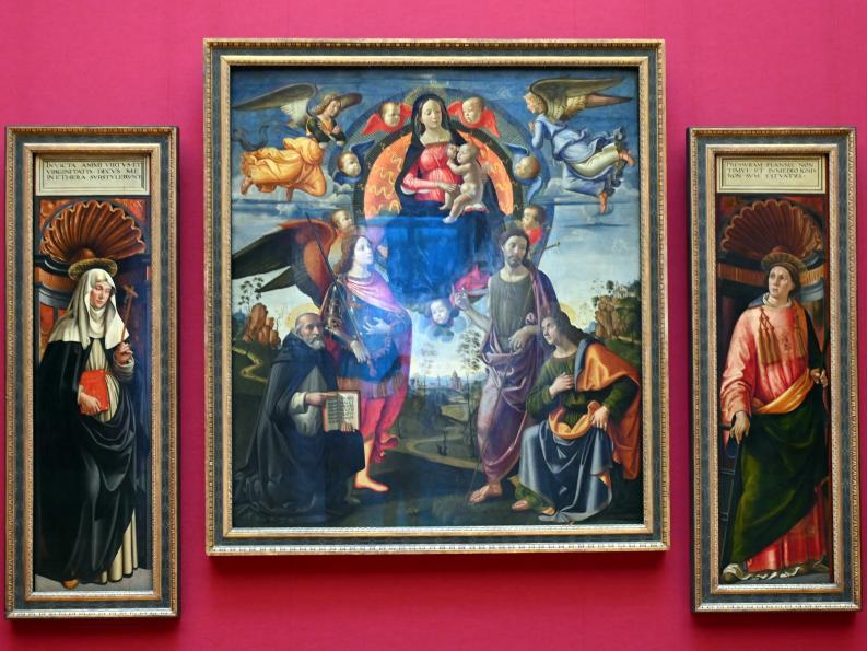 Domenico Ghirlandaio: Drei Tafeln des Hochaltars von S. Maria Novella in Florenz, um 1490 - 1494, Bild 1/6