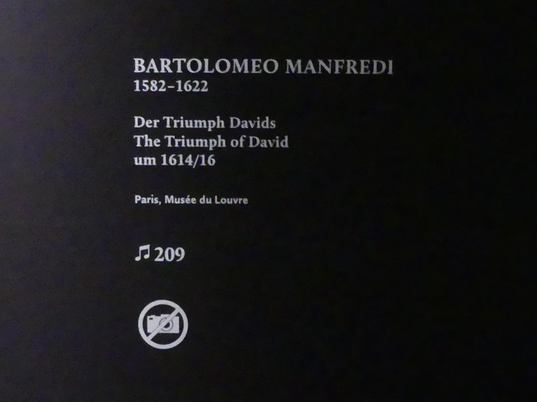 Bartolomeo Manfredi: Der Triumph Davids, um 1614 - 1616