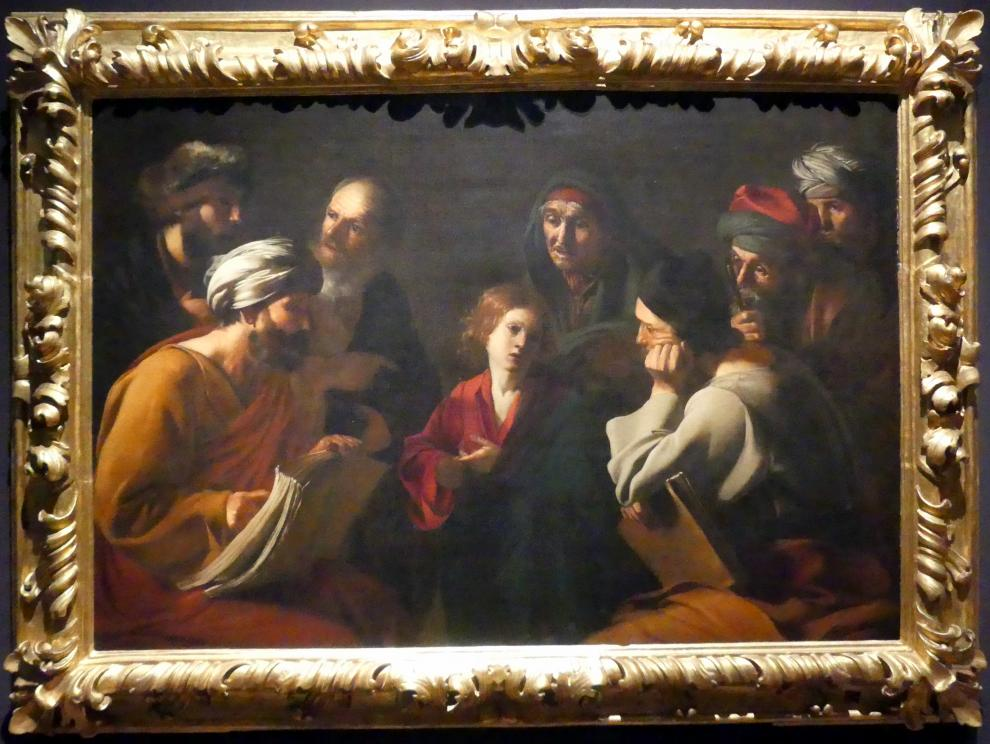 Bartolomeo Manfredi: Christus unter den Schriftgelehrten, Um 1618