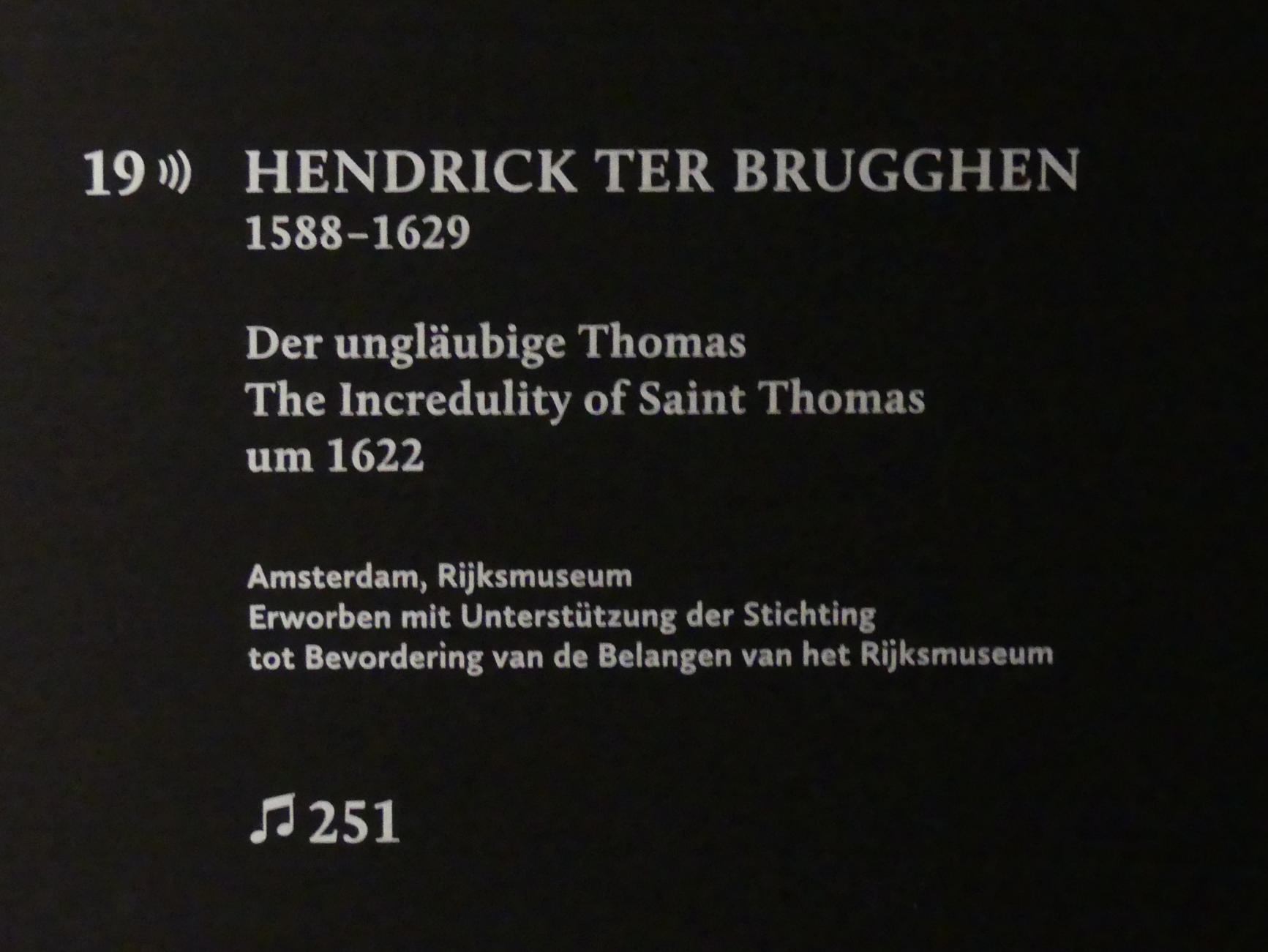 Hendrick ter Brugghen: Der ungläubige Thomas, Um 1622