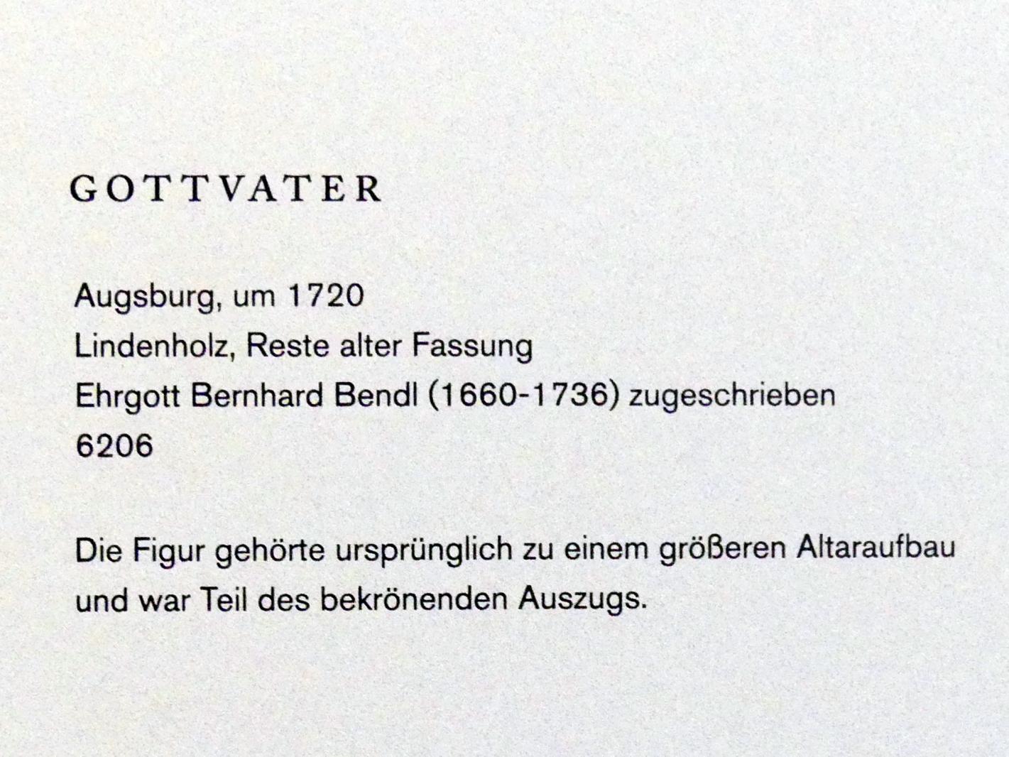 Ehrgott Bernhard Bendl: Gottvater, um 1720, Bild 3/3