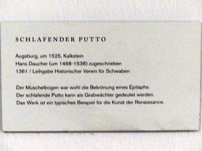 Hans Daucher: Schlafender Putto, um 1525, Bild 2/2