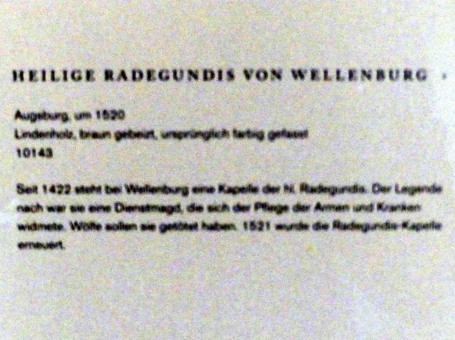 Heilige Radegundis von Wellenburg, um 1520, Bild 2/2