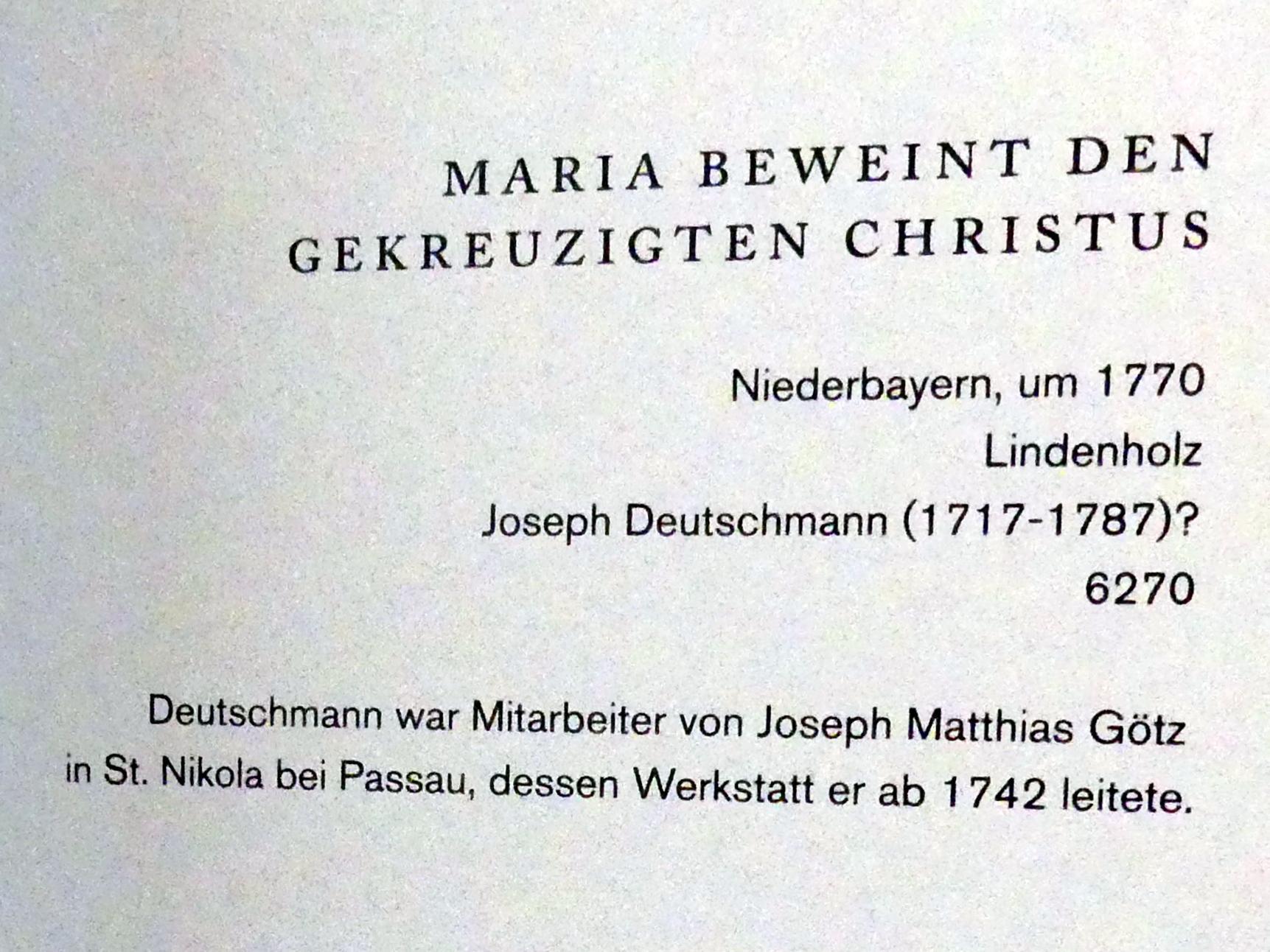 Joseph Deutschmann: Maria beweint den gekreuzigten Christus, Um 1770