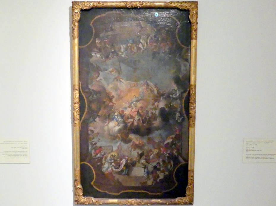 Johann Georg Bergmüller: Modello für das Langhausfresko des Marienmünsters zu Diesen am Ammersee, vor 1736