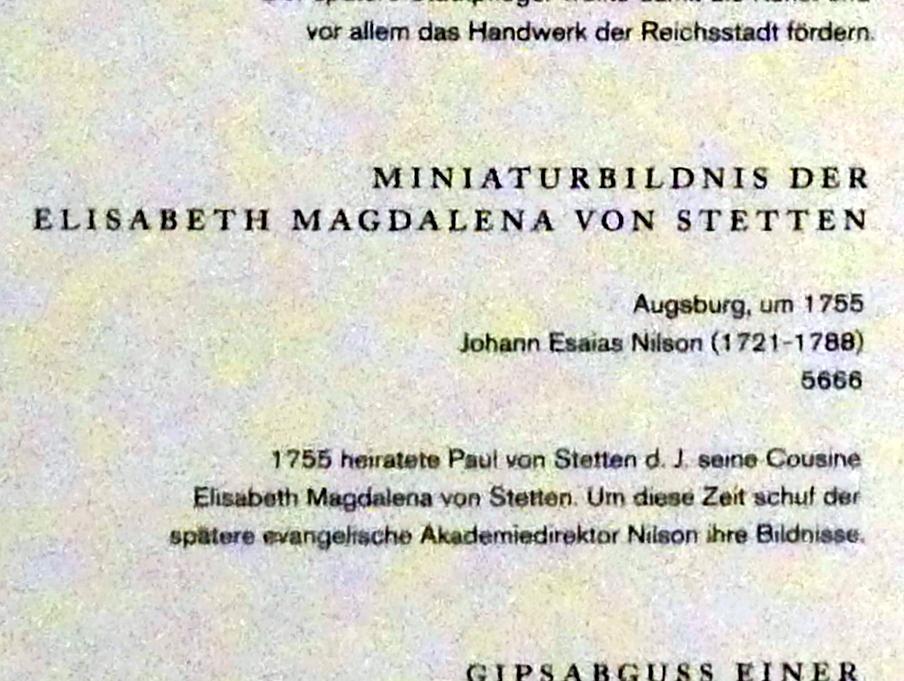 Johannes Esaias Nilson: Miniaturbildnis der Elisabeth Magdalena von Stetten, um 1755, Bild 2/2