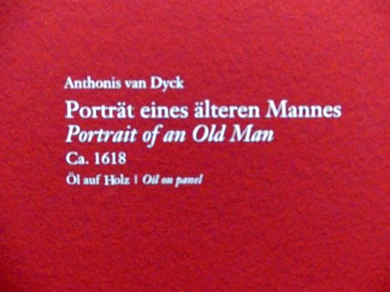 Anthonis (Anton) van Dyck: Portrait eines älteren Mannes, Um 1618