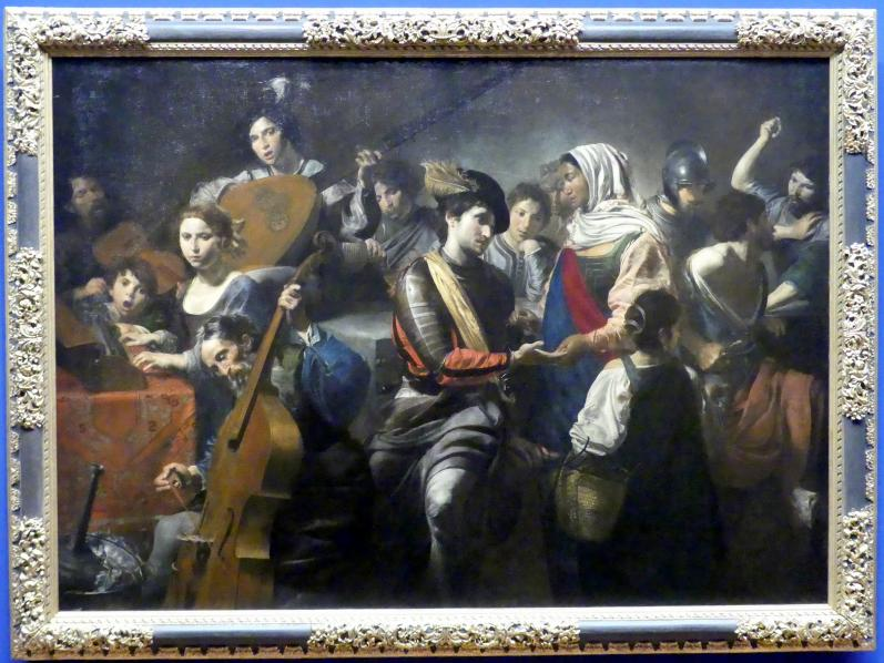 Valentin de Boulogne: Fröhliche Gesellschaft mit Wahrsagerin, 1631