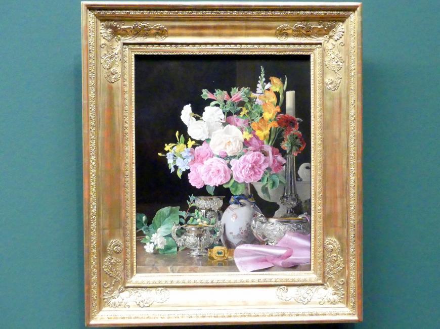 Ferdinand Georg Waldmüller: Blumen in Porzellanvase mit Leuchter und Silbergefäßen, 1839