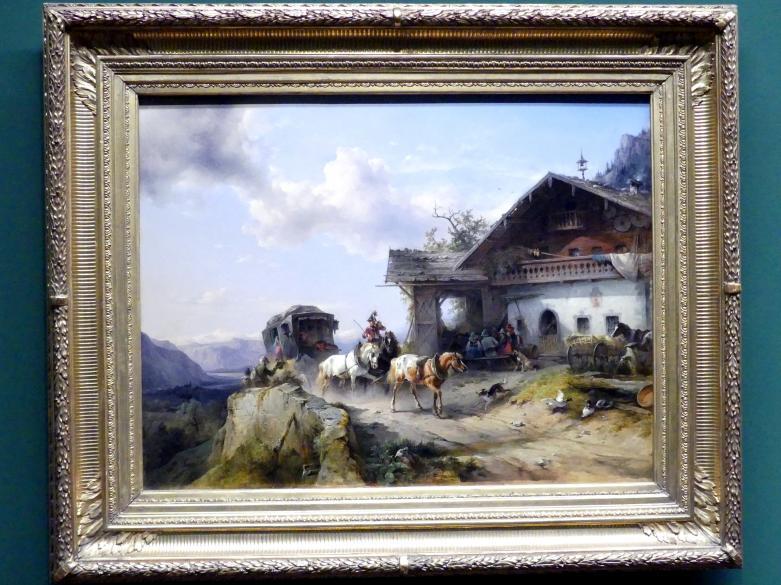 Friedrich Gauermann: Die Ankunft des Eilwagens beim Wirtshaus auf dem Brenner, 1848