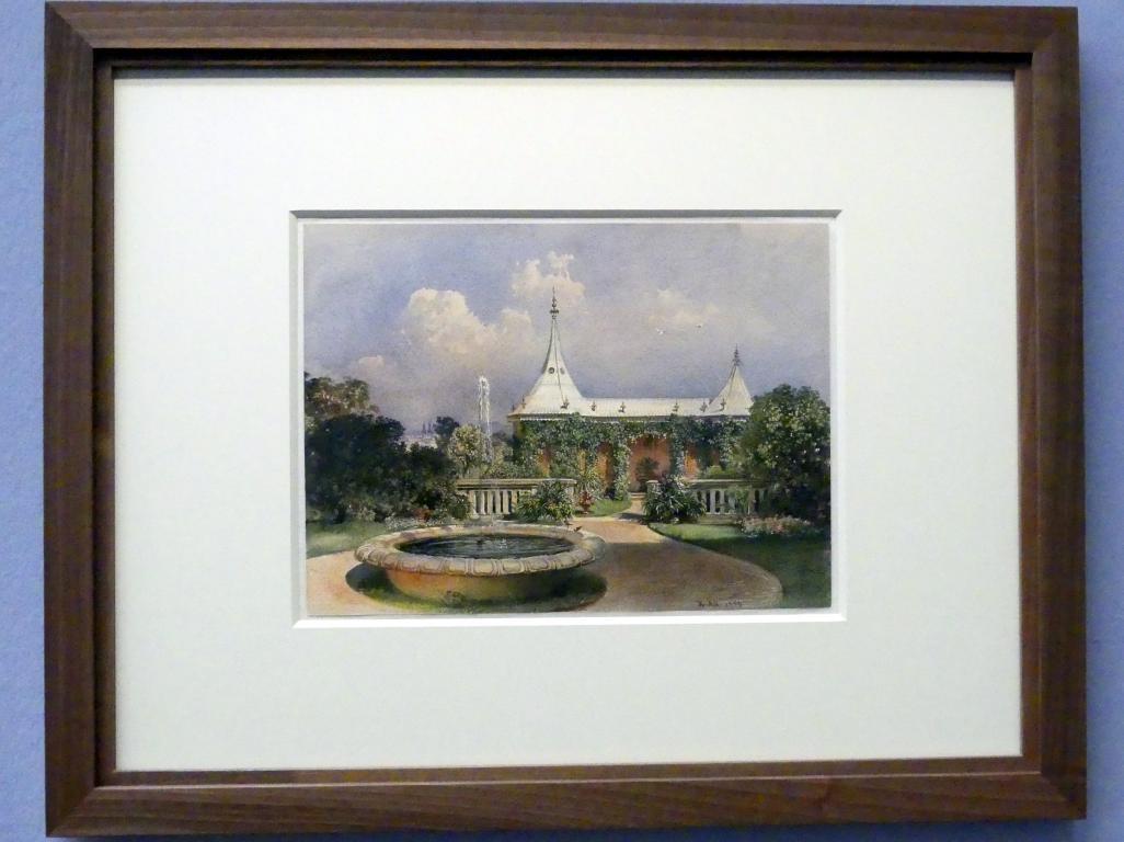 Rudolf von Alt: Der Gartenpavillon vor dem Stadtpalais Liechtenstein in der Bankgasse, 1850