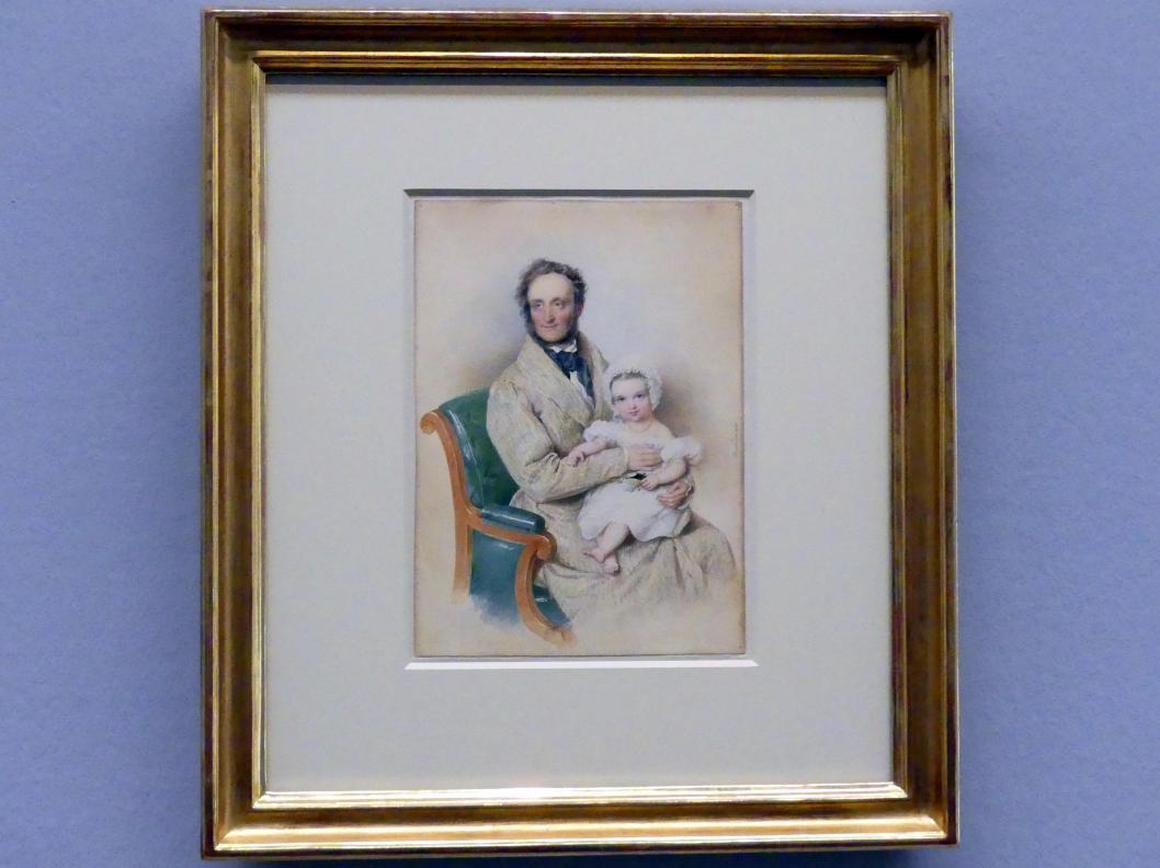 Josef Kriehuber: Fürst Alois II. von Liechtenstein mit seiner Tochter Marie Franziska, 1835