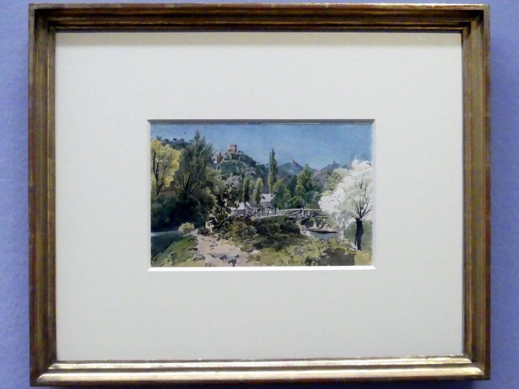 Rudolf von Alt: Blick von der Klausen zur Burg Mödling, 1827