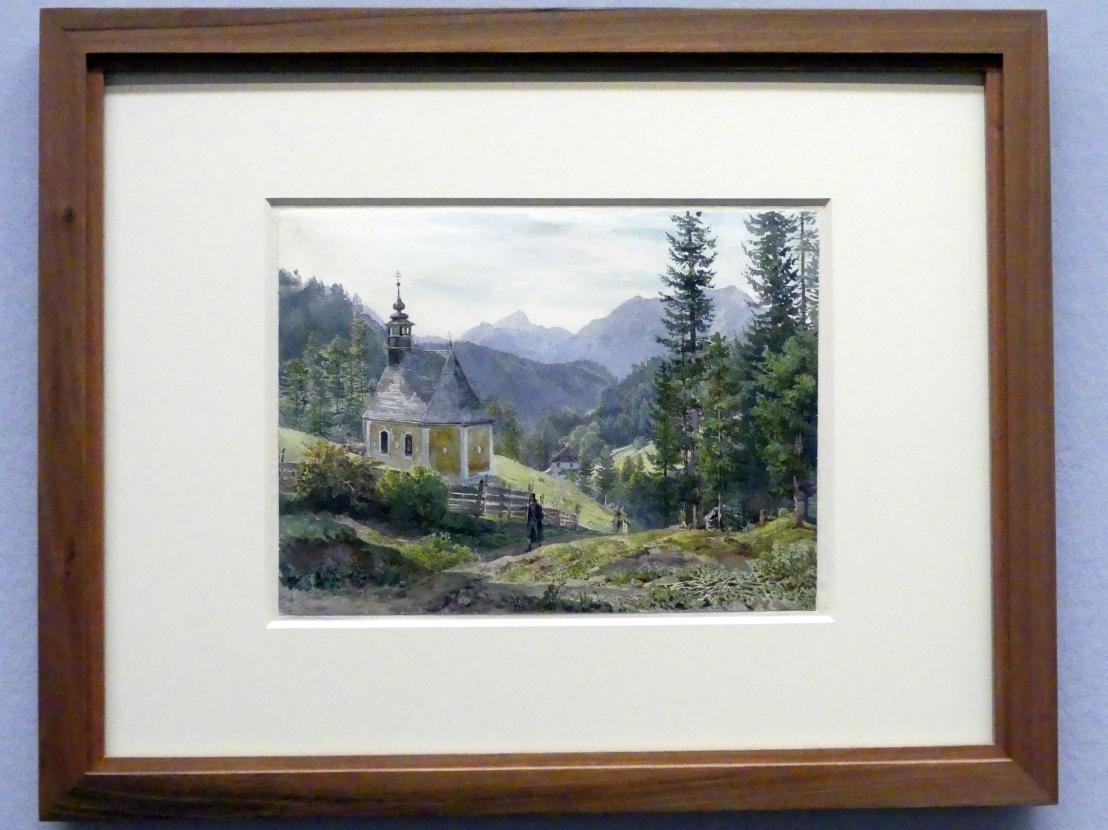 Joseph Höger: Blick auf eine Kapelle bei Hallstatt, Um 1836