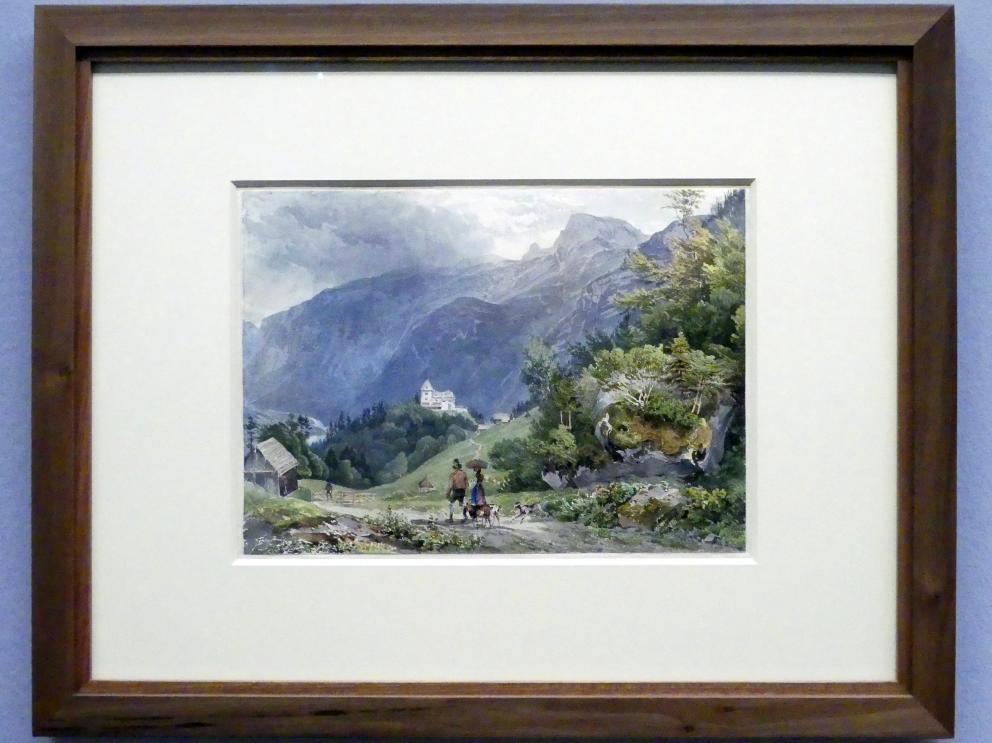 Joseph Höger: Blick auf den Rudolfsturm bei Hallstatt, Um 1836